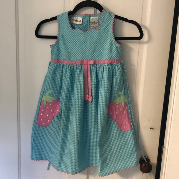 Youngland Other - Lt blue gingham seersucker sundress w/watermelons